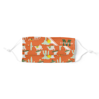 Llamas in Sombreros Funny Pattern Monogram Name Adult Cloth Face Mask