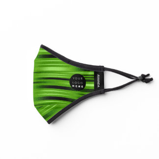 Logo Lines Stripes Lines Tropical Green Modern Premium Face Mask