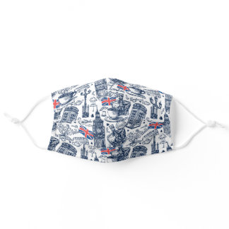 London England Icon Pattern Adult Cloth Face Mask