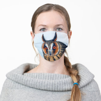 Long-Eared Owl Vintage Illustration Adult Cloth Face Mask