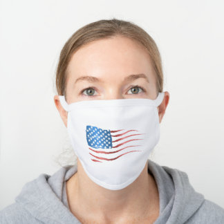 Loosely Sketched American Flag White Cotton Face Mask