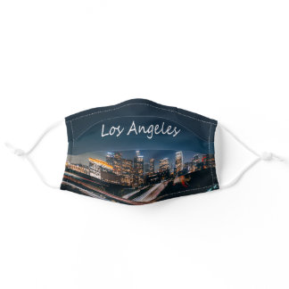 Los Angeles California City Skyline at night Adult Cloth Face Mask