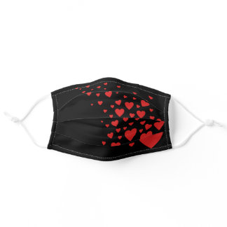 Lots of Hearts Heart Scatter Red And Black Pattern Adult Cloth Face Mask