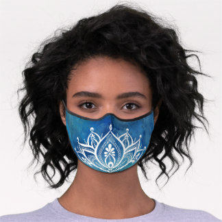Lotus Flower White Watercolor Blue Premium Face Mask