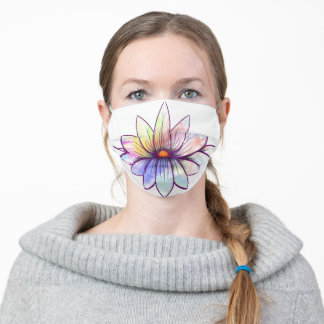 Lotus with watercolor adult cloth face mask
