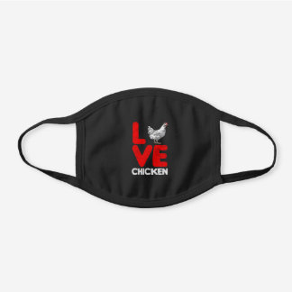 Love Chicken Black Cotton Face Mask