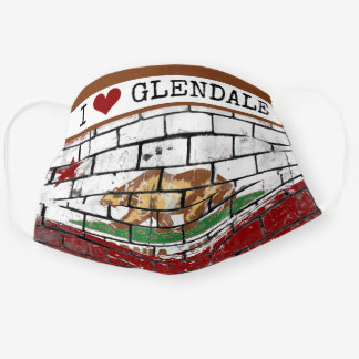 Love Glendale California Republic Flag Street Art Cloth Face Mask