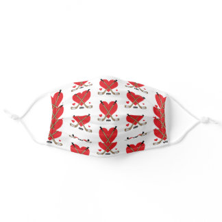 Love Heart Hockey Sticks and Puck Adult Cloth Face Mask