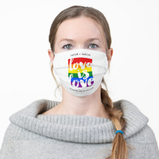 Love is love gay pride flag editable text adult cloth face mask