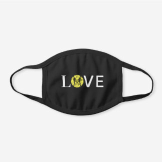 Love Old Tennis Ball and Black Rackets Sport Quote Black Cotton Face Mask