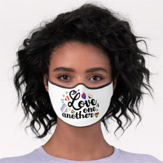 Love One Another LGBTQ pride flag hearts Premium Face Mask
