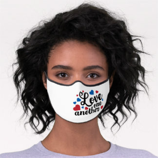 Love One Another red blue USA patriotic hearts Premium Face Mask