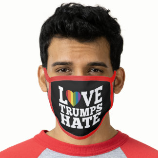Love Trumps Hate Rainbow Heart - modern design Face Mask
