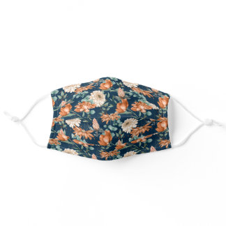 Lovely Burnt Orange and White Floral Pattern Adult Cloth Face Mask