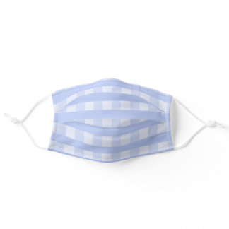 Lovely Pastel Baby Blue Plaid Gingham Adult Cloth Face Mask