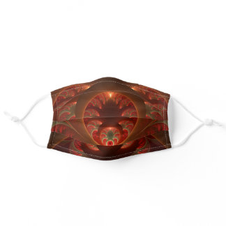 Luminous Abstract Modern Orange Red Fractal Adult Cloth Face Mask
