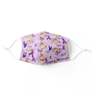 Lupus Support Purple Ribbon Floral Butterfly DIY Adult Cloth Face Mask