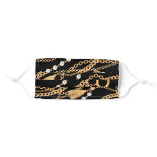 Luxe Gold and Pearl Pattern Adult Cloth Face Mask