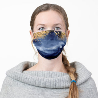 Luxe Navy Blue Gold Professional Face Mask