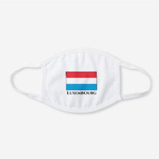 Luxembourg Flag  White Cotton Face Mask
