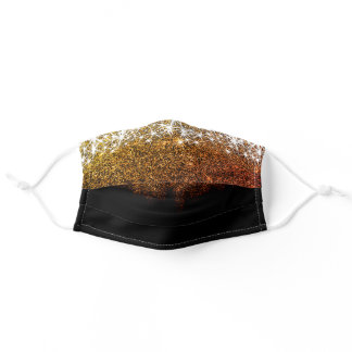 Luxurious Shimmery Golden Glitter Modern Trendy Adult Cloth Face Mask