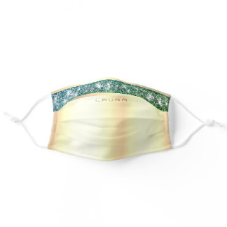 Luxurious Teal Glitter Glam Custom Name Golden Adult Cloth Face Mask