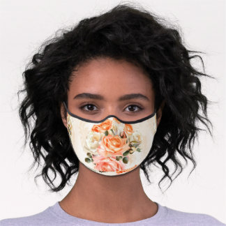 Luxury Gold Floral ornament pattern customized Premium Face Mask