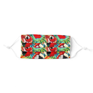 Macaw Parrot Paper Craft Pattern Adult Cloth Face Mask