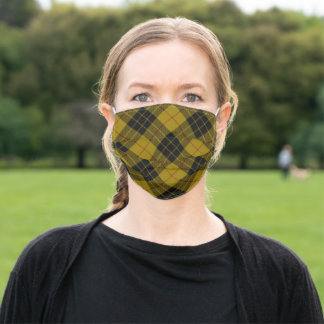 MacLeod tartan yellow black plaid Adult Cloth Face Mask