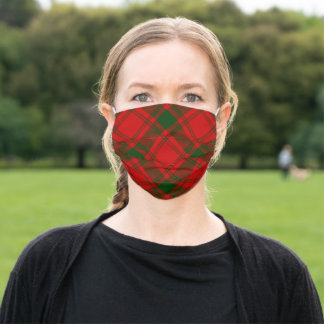 MacQuarrie tartan red green plaid Adult Cloth Face Mask