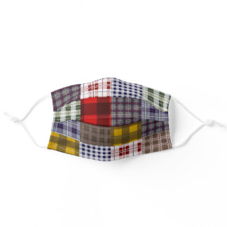 Madras Plaid Patchwork Inspired Adult Cloth Face Mask