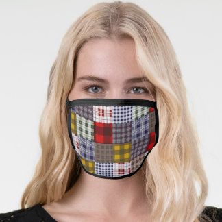 Madras Plaid Patchwork Inspired Pattern Face Mask