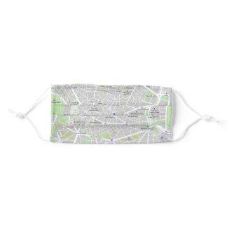 Madrid Street Map Face Mask