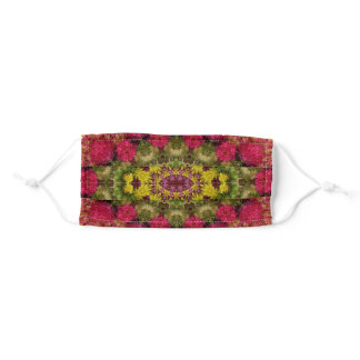 Magenta, Purple & Lime Green Floral Mandala Art Adult Cloth Face Mask