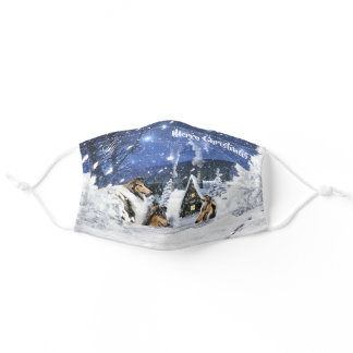 Magic White Christmas w/ Rough Collies & Lambs - Adult Cloth Face Mask