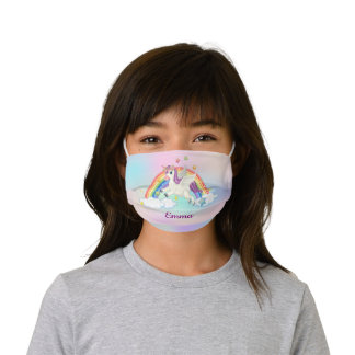 Magical Flying Unicorn Girl Rainbow Personalized Kids' Cloth Face Mask