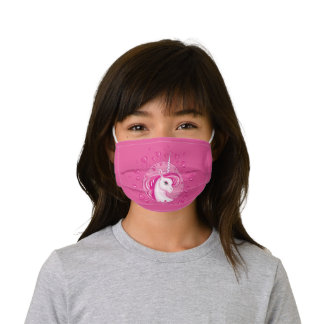 Magical Pastel Pink and White Unicorn Kids' Cloth Face Mask