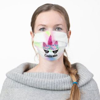 Magical Pink Unicorn Floral Glitter Monogram Adult Cloth Face Mask