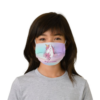 Magical Unicorn Flower Girl Personalized Kids' Cloth Face Mask