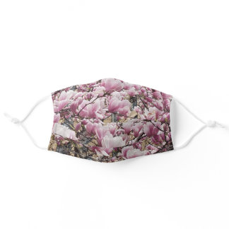 Magnolias blooming pink and white adult cloth face mask