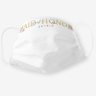 Maid of Honor Wedding Watercolor Floral Rose White Cloth Face Mask