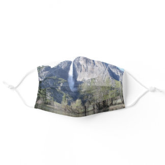 Majestic Waterfall in Yosemite Park Adult Cloth Face Mask