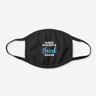 Make America Think Again Blue Black Cotton Face Mask