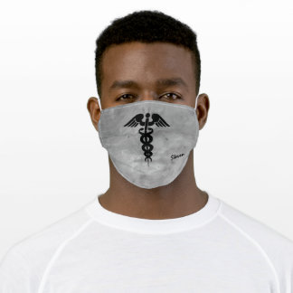 Male Nurse Caduceus Symbol Black Grey Customized Adult Cloth Face Mask