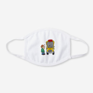 Male School Bus Driver School Theme Teacher Bus White Cotton Face Mask