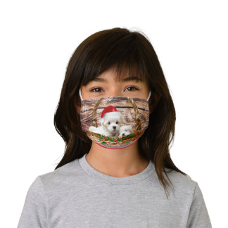 Maltese Puppies ready for Christmas Kids' Cloth Face Mask