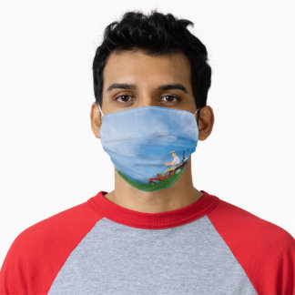 man mowing grass adult cloth face mask