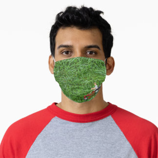 Man on riding lawnmower adult cloth face mask
