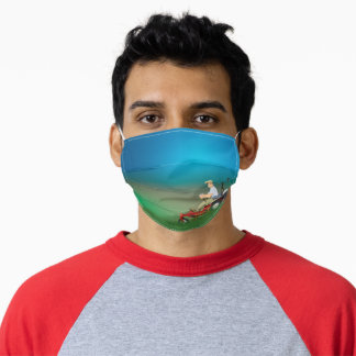 man riding lawnmower adult cloth face mask
