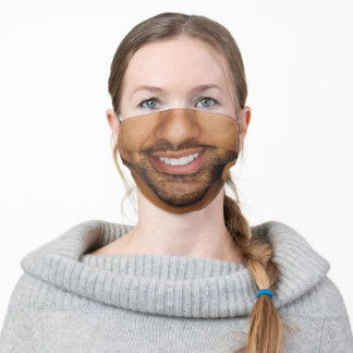 Man with Mustache and Beard White Teeth Funny Adult Cloth Face Mask